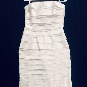 White House Black Market Dresses - Never worn White H / Black M satin layered dress